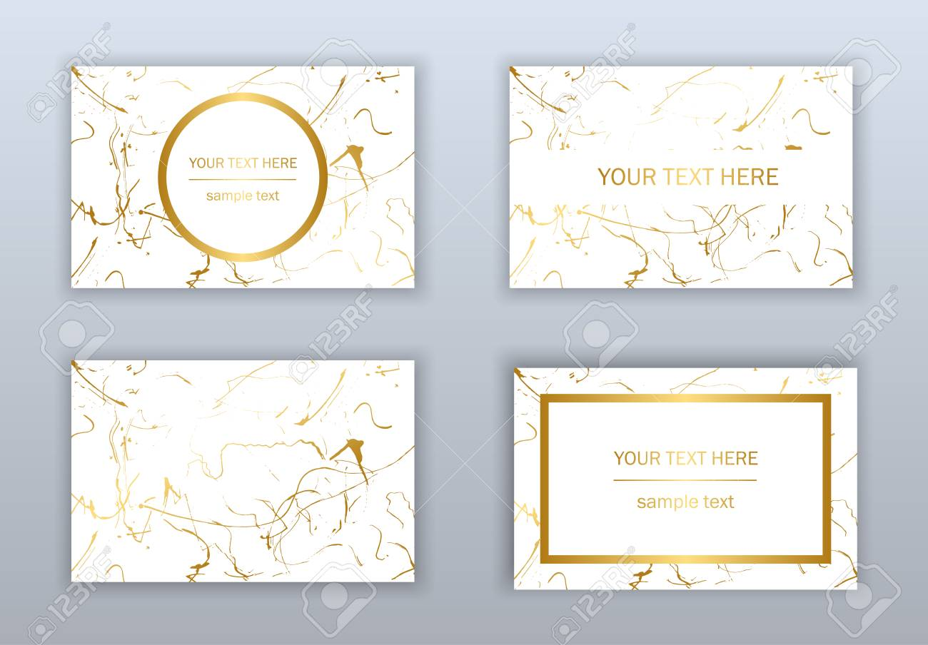 Set Of White Black And Gold Business Cards Templates Modern