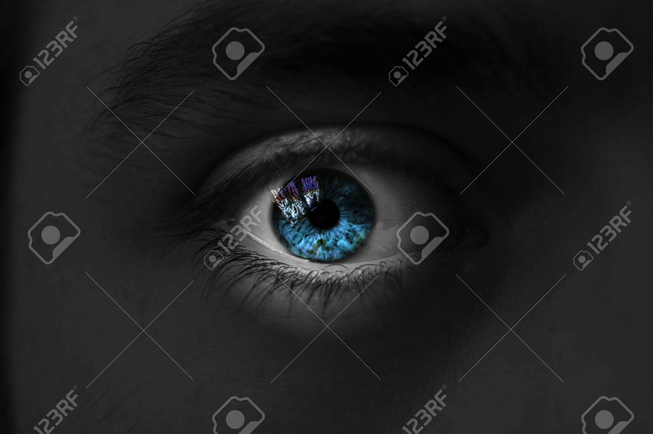 Eye isolated man blue color, isolate Stock Photo - 6276275