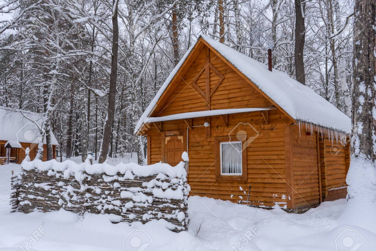 Countryside in winter. Wooden houses and outbuildings covered with snow in cloudy winter day. Rural landscape, village after snowfall. - 156082851