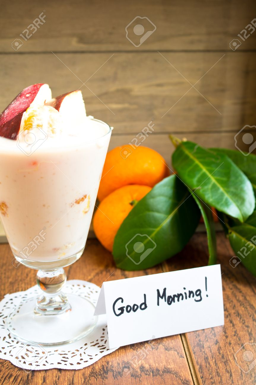 Fresh Fruits And Yoghurt With Good Morning Note Stock Photo Picture