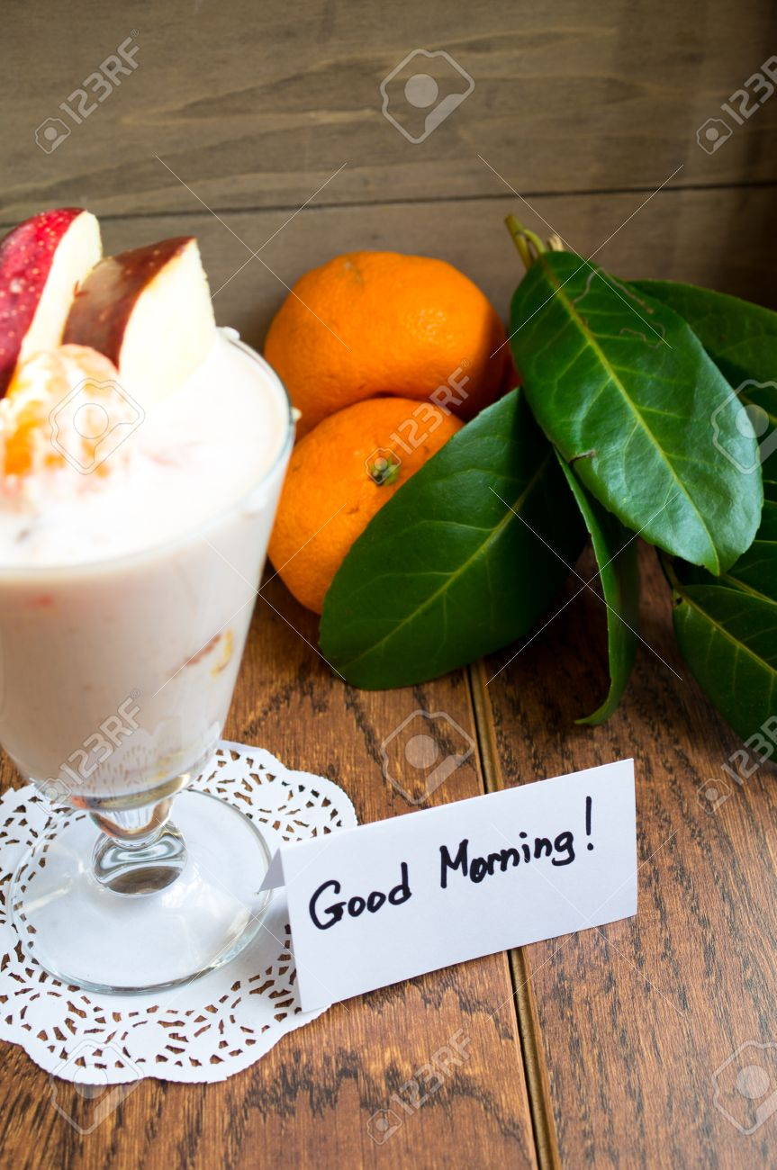 Healthy Food Fresh Fruits And Yogurt With Good Morning Note Stock