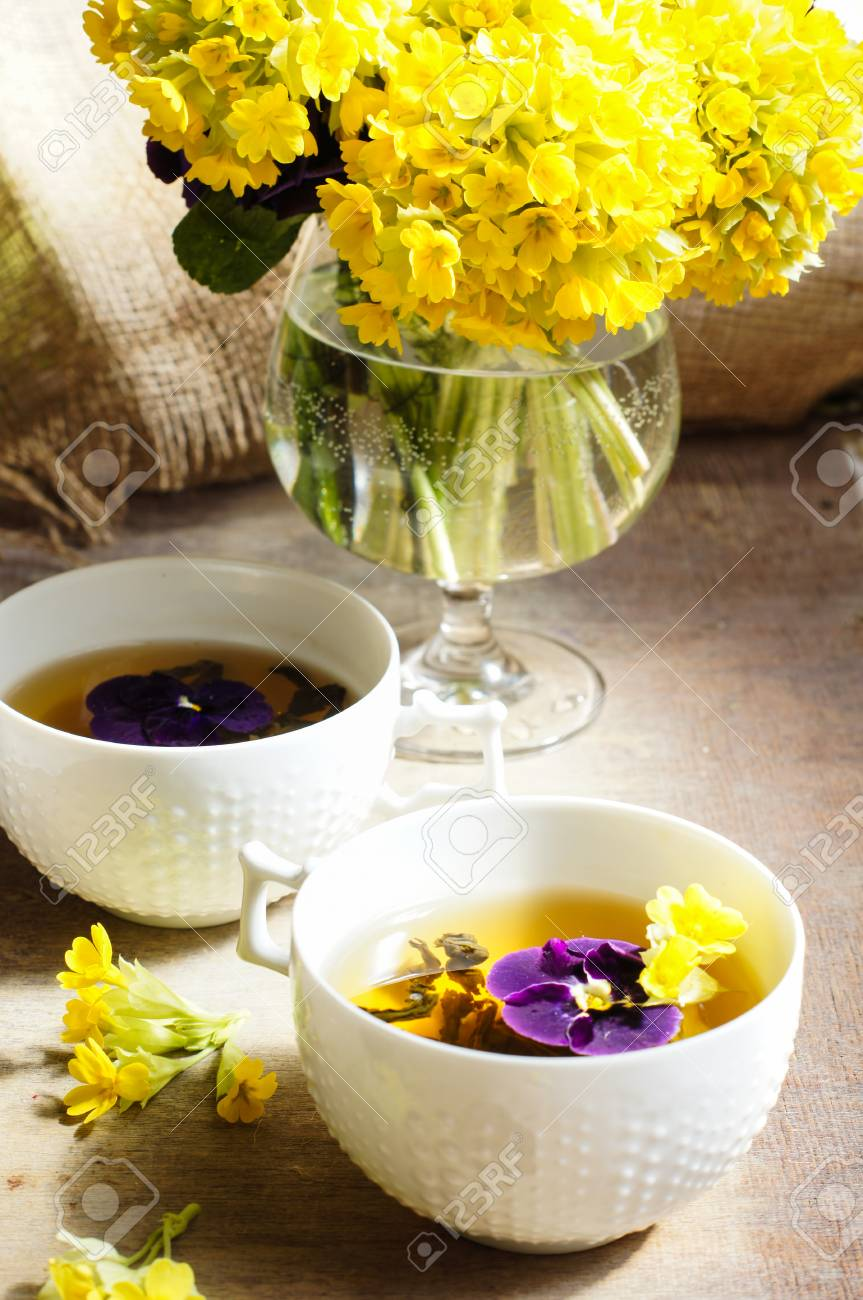 Cup O Tea And Spring Flowers With Good Morning Note Stock Photo