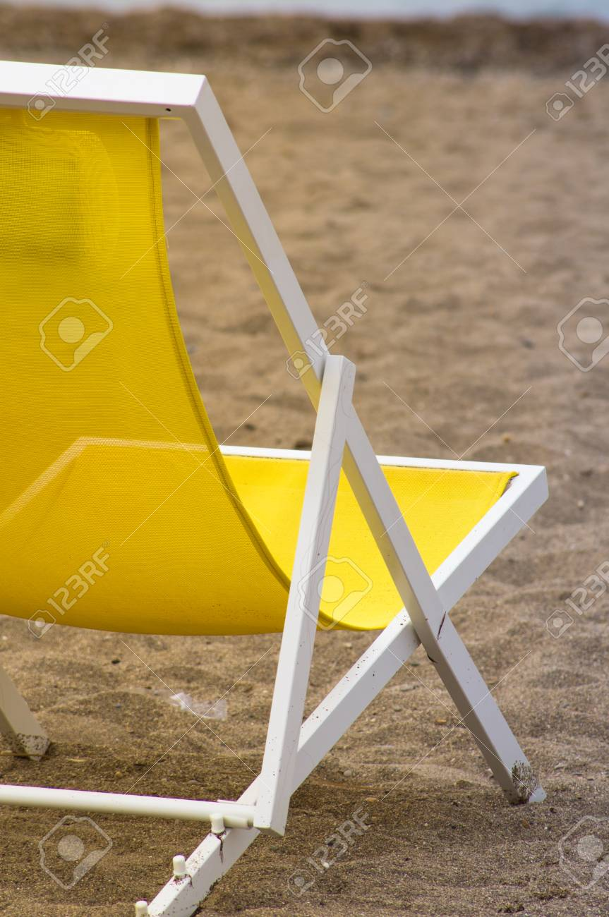 Bright Colors Sun Chairs On The Sand Beach Of Mediterranean Sea Stock Photo    44961292