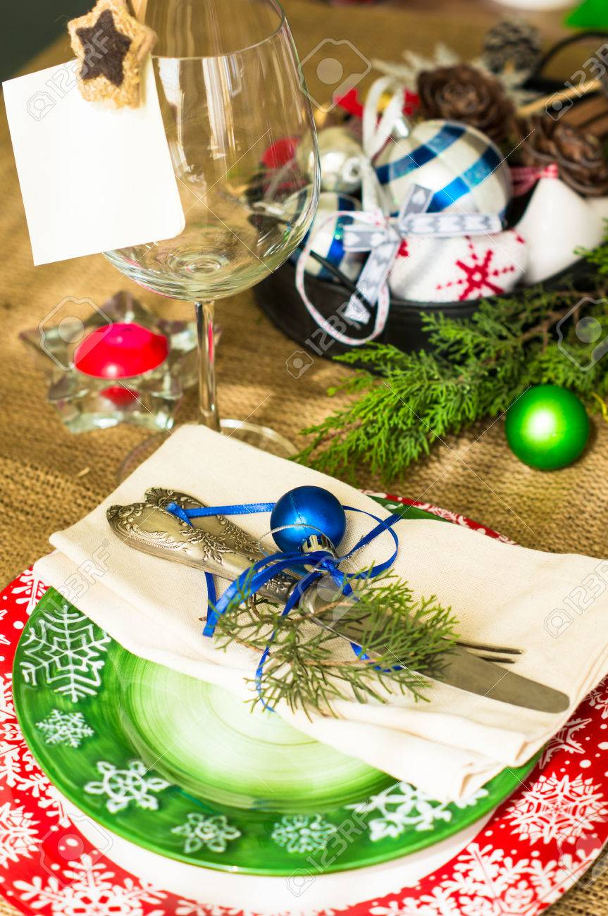 Vintage Or Rustic Christmas Table Setting. Selective Focus Stock ...