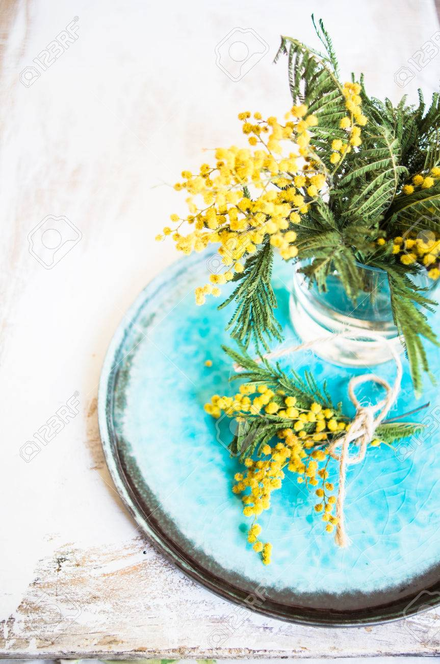 Spring Time Table Decoration With Yellow Mimosa Flowers And ...