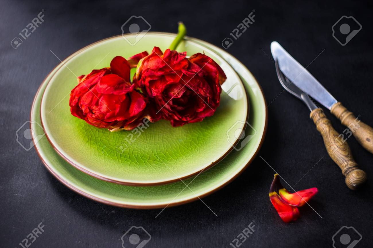 Summer Table Setting Decorated With Red Princess Tulips On Rustic ...