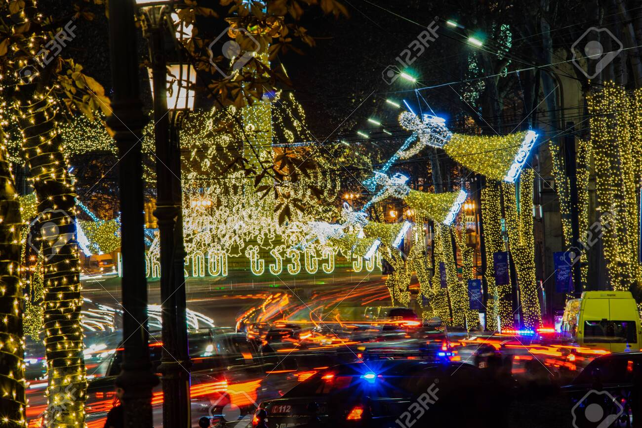 Christmas In Georgia Tbilisi.Georgia Tbilisi Christmas And New 2019 Year Illumination On