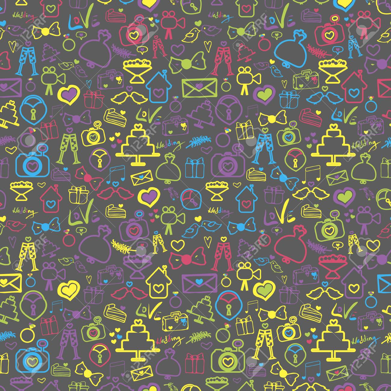 Abstract Vector Background On The Theme Of The Wedding. Doodles ...