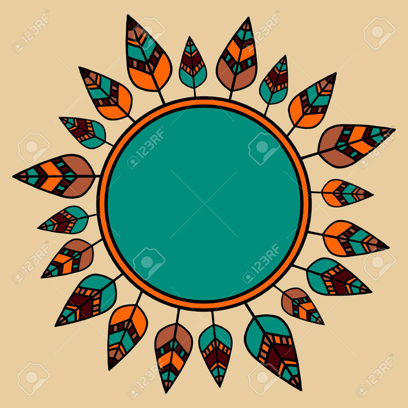 Vector indian round frame of graphics leaf plant handmade vector indian round frame of graphics leaf plant handmade vanguard bird feather it biocorpaavc