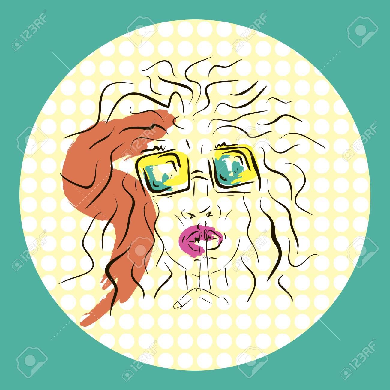 ベクトル少女顔のシンプルなイメージのイラストですスケッチ
