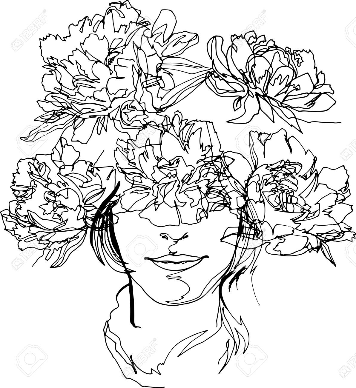 The head of a girl with a wreath of flowers fashion illustration