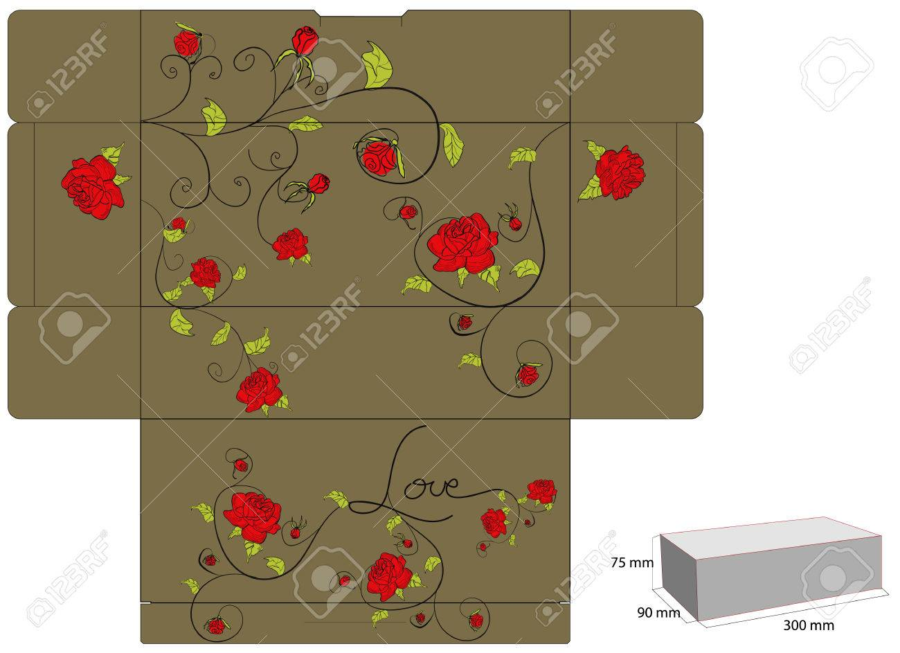 Gift box with rose Stock Vector - 6239318