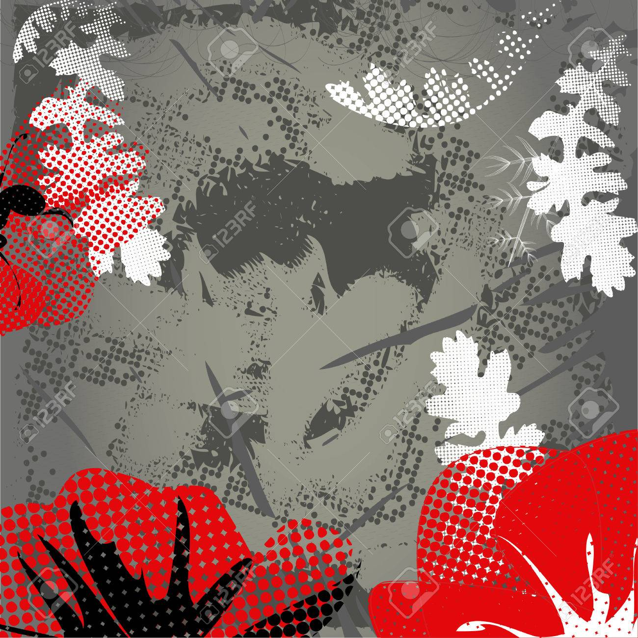 Grey grunge background with red poppy Stock Vector - 6289275