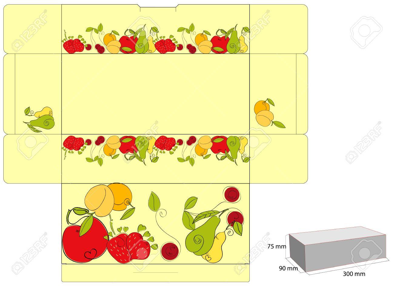 foto de archivo plantilla para caja de frutas