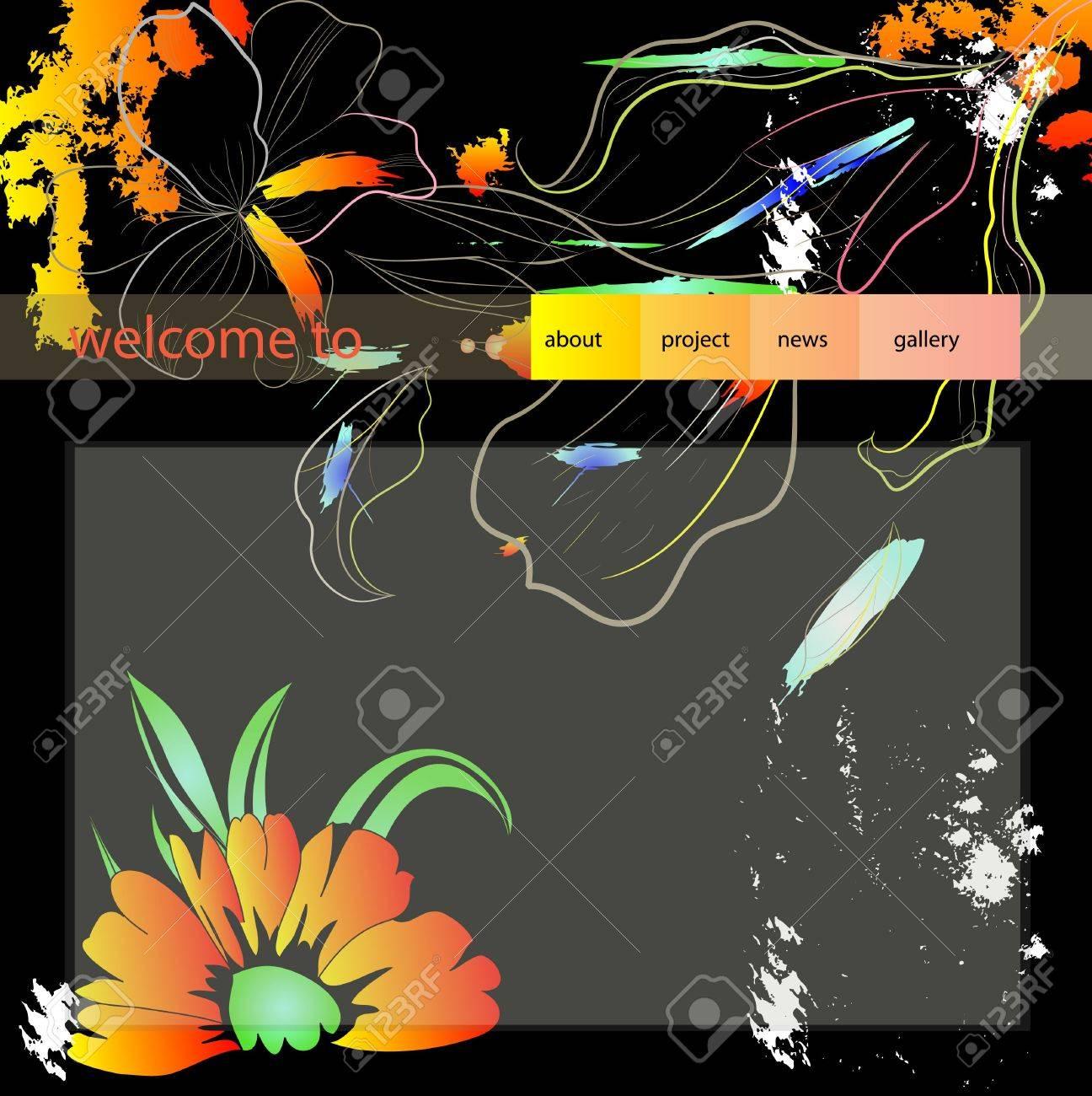 website design template with flowers Stock Vector - 6861508