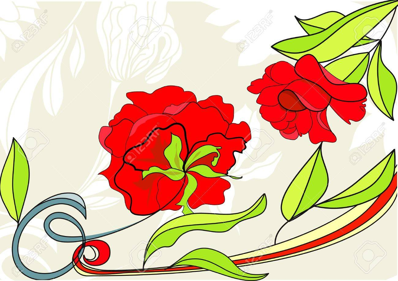 Background with red rose Stock Vector - 7373733