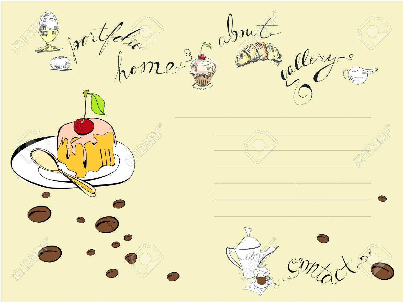 Template for web design with food Stock Vector - 8154354