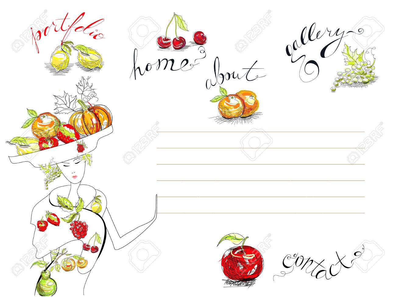 Template for web design with fruit Stock Vector - 8154388