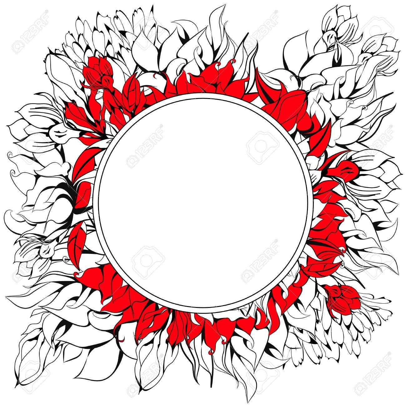 Round frame with floral element Stock Vector - 8874608