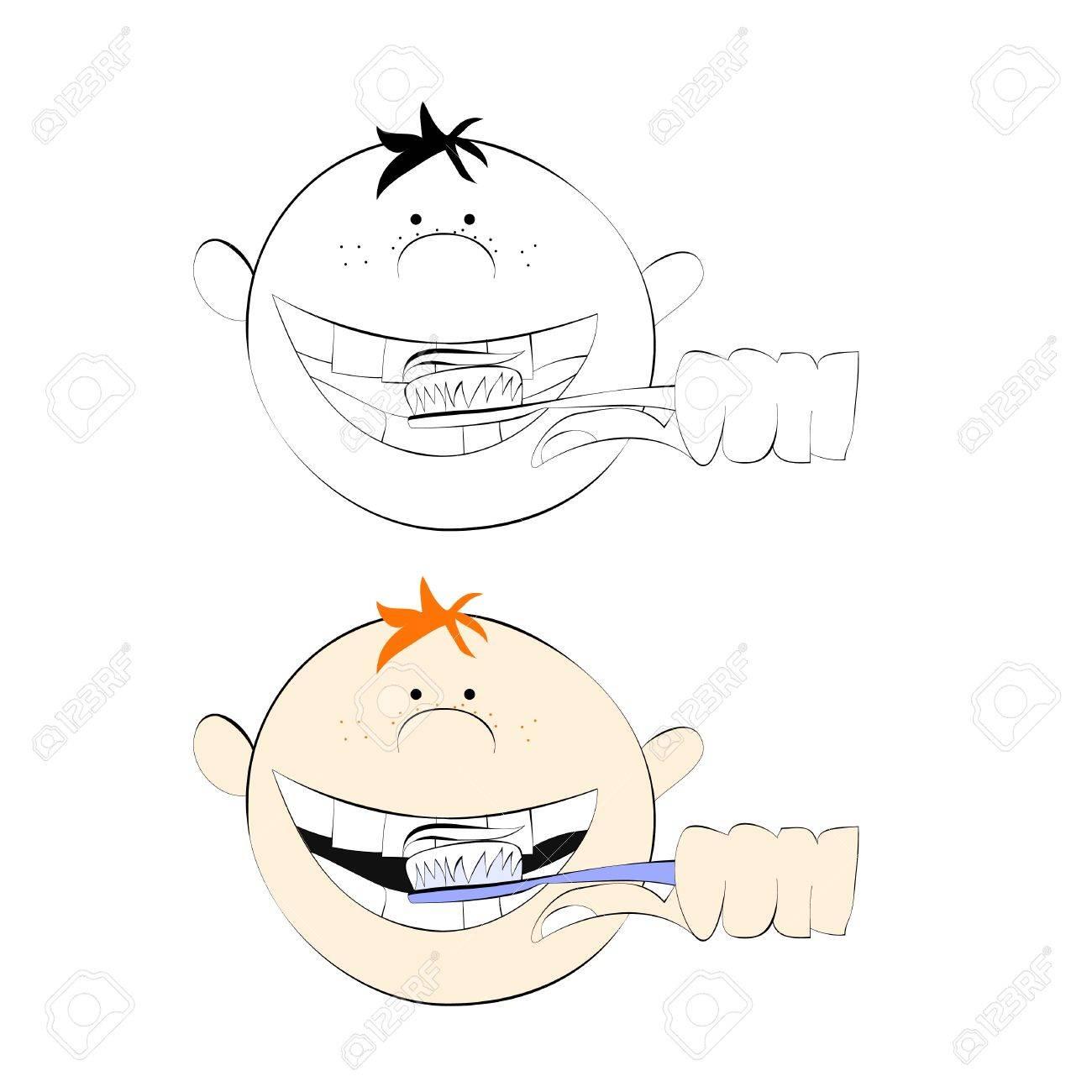 Boy brushing his teeth Stock Vector - 8959631