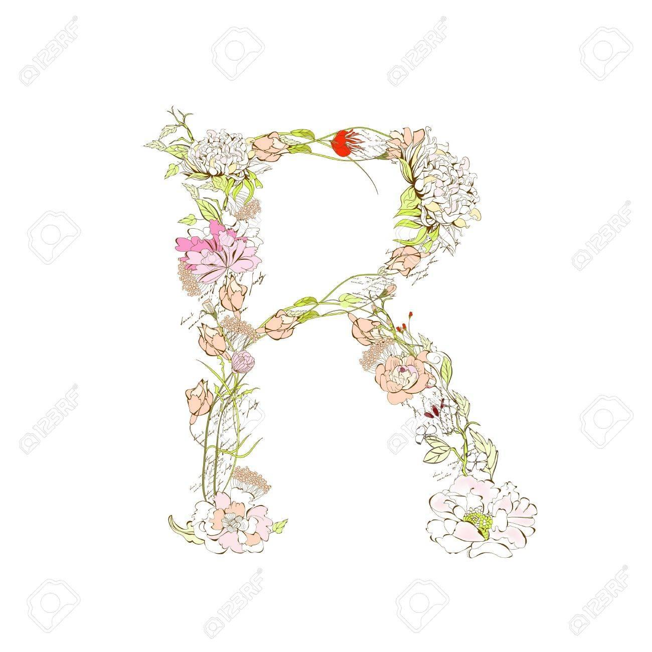 Spring floral font, Letter R Stock Vector - 9229351