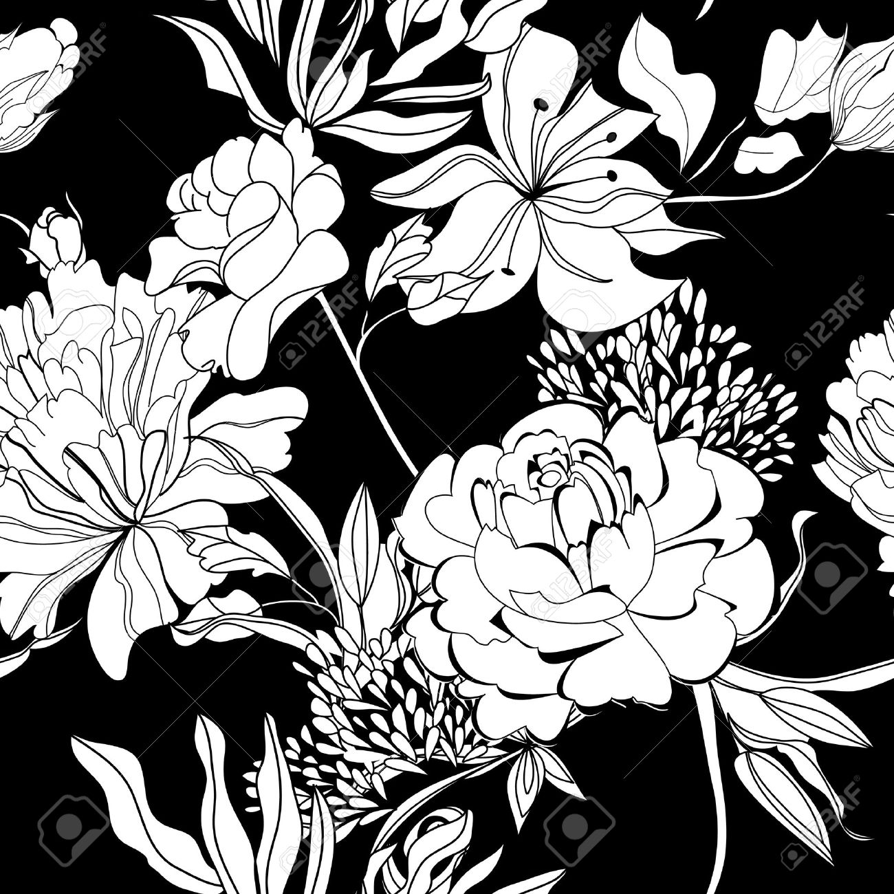 decorative seamless wallpaper with white flowers on black background stock vector - Black And White Flowers