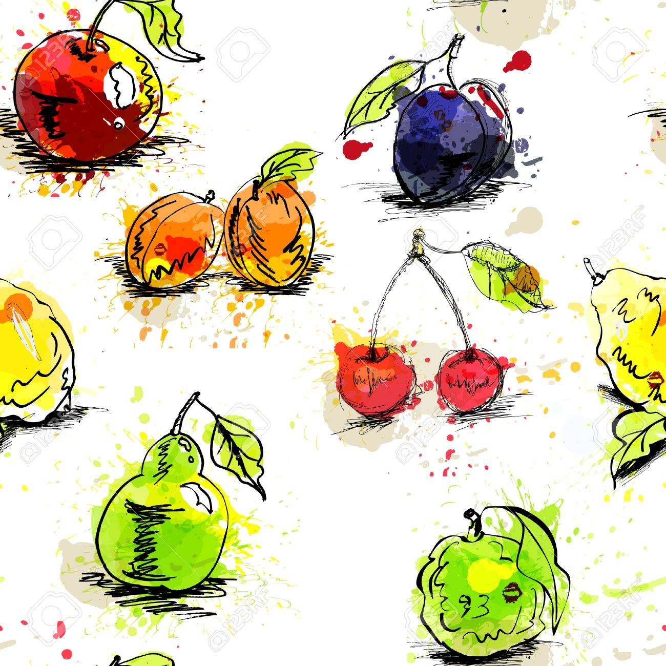 フルーツとのシームレスな壁紙のイラスト素材 ベクタ Image 10069505