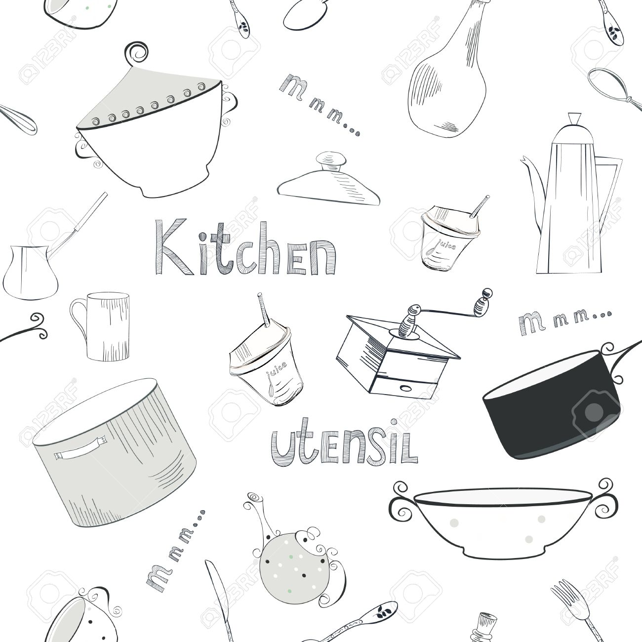 Kitchen Utensils Wallpaper seamless wallpaper with utensils royalty free cliparts, vectors