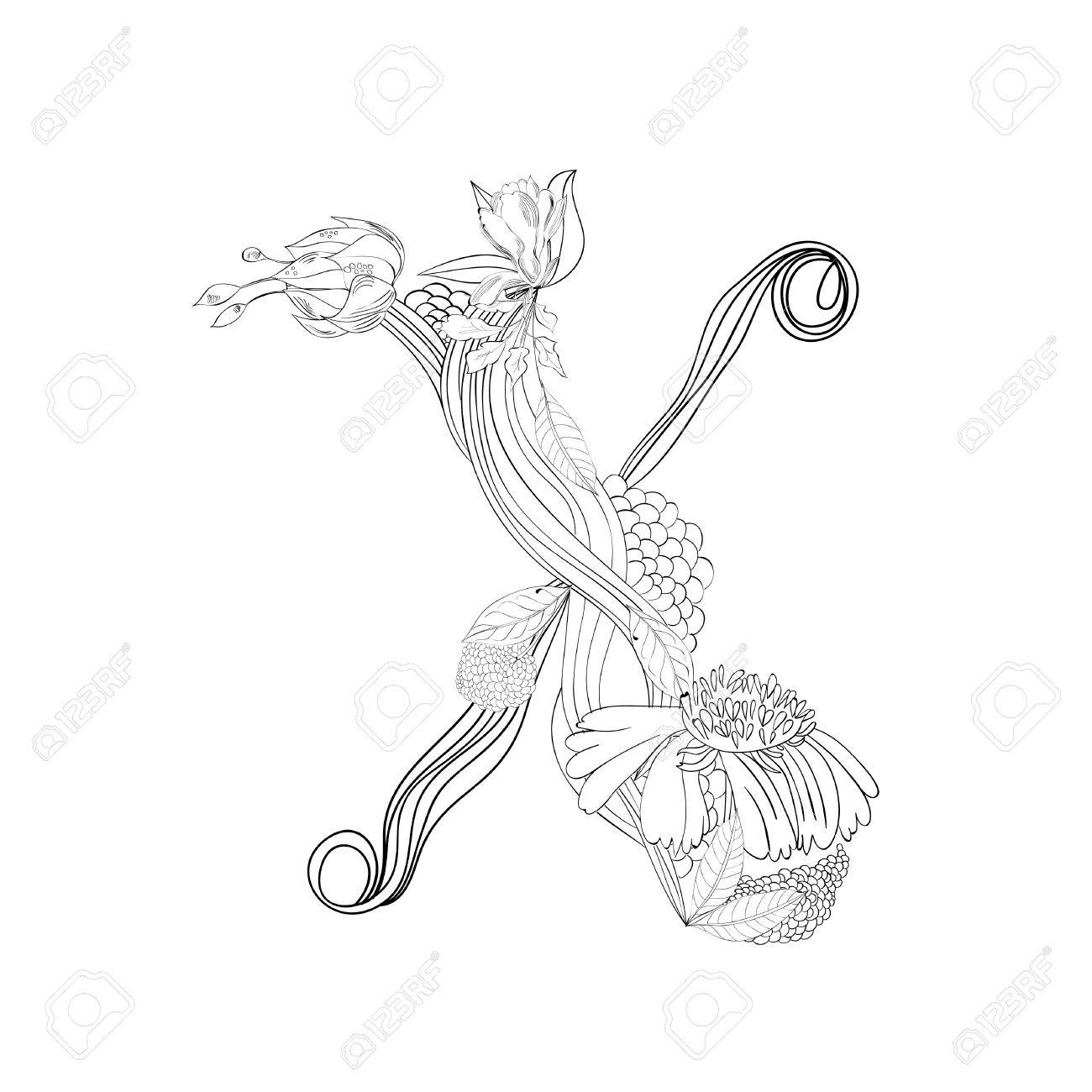 Floral font, Letter X Stock Vector - 10897381