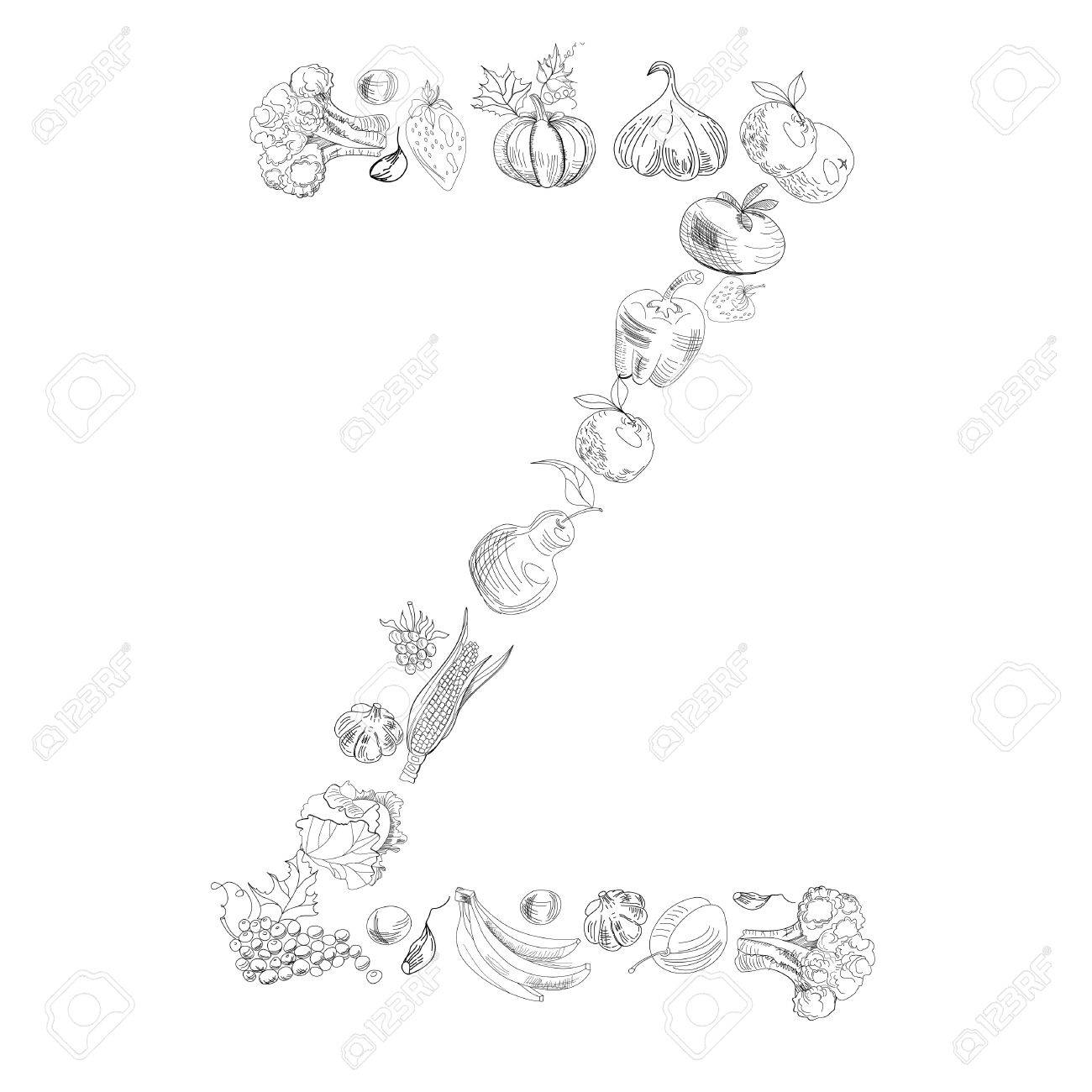 Decorative Font With Fruit And Vegetable Letter Z Royalty Free