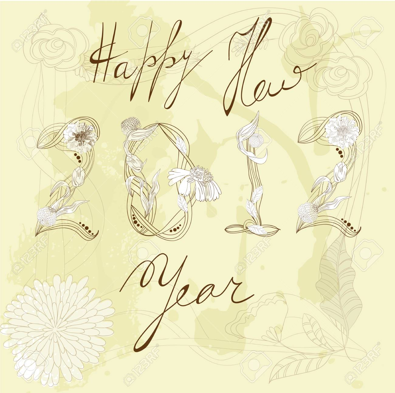 Decorative background  with inscription 2012 and Happy New year Stock Vector - 11029625