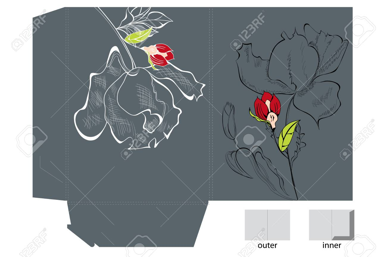 Template for folder with flowers Stock Vector - 11917477