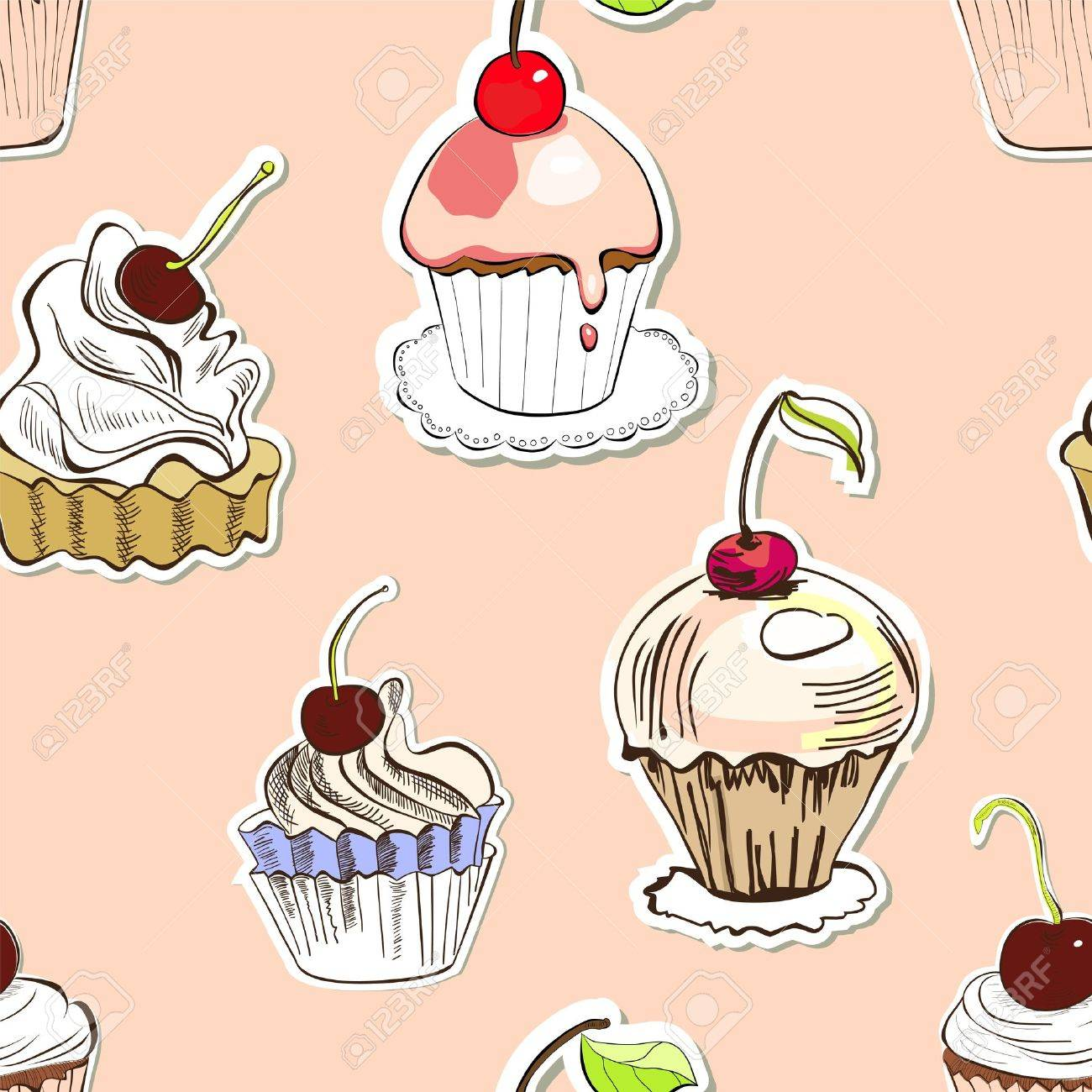 Seamless background with cake Stock Vector - 12930950