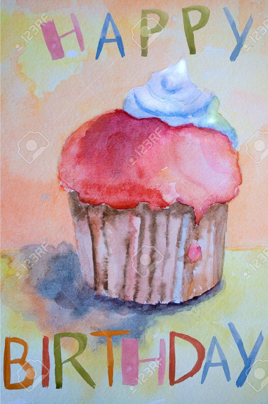 Watercolor illustration of cake Stock Illustration - 12930960