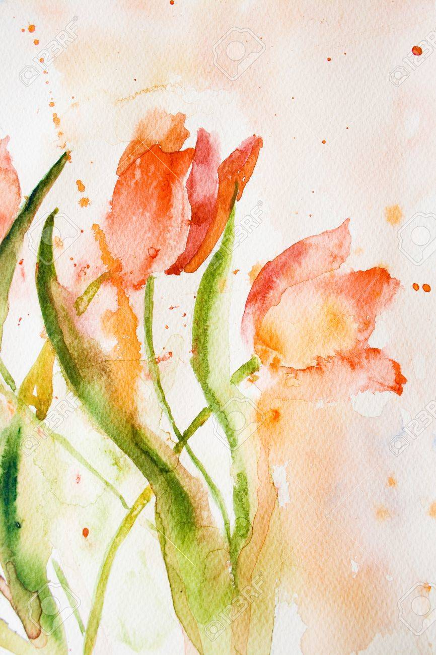 Watercolor background with stylized tulips flowers Stock Photo - 13220776