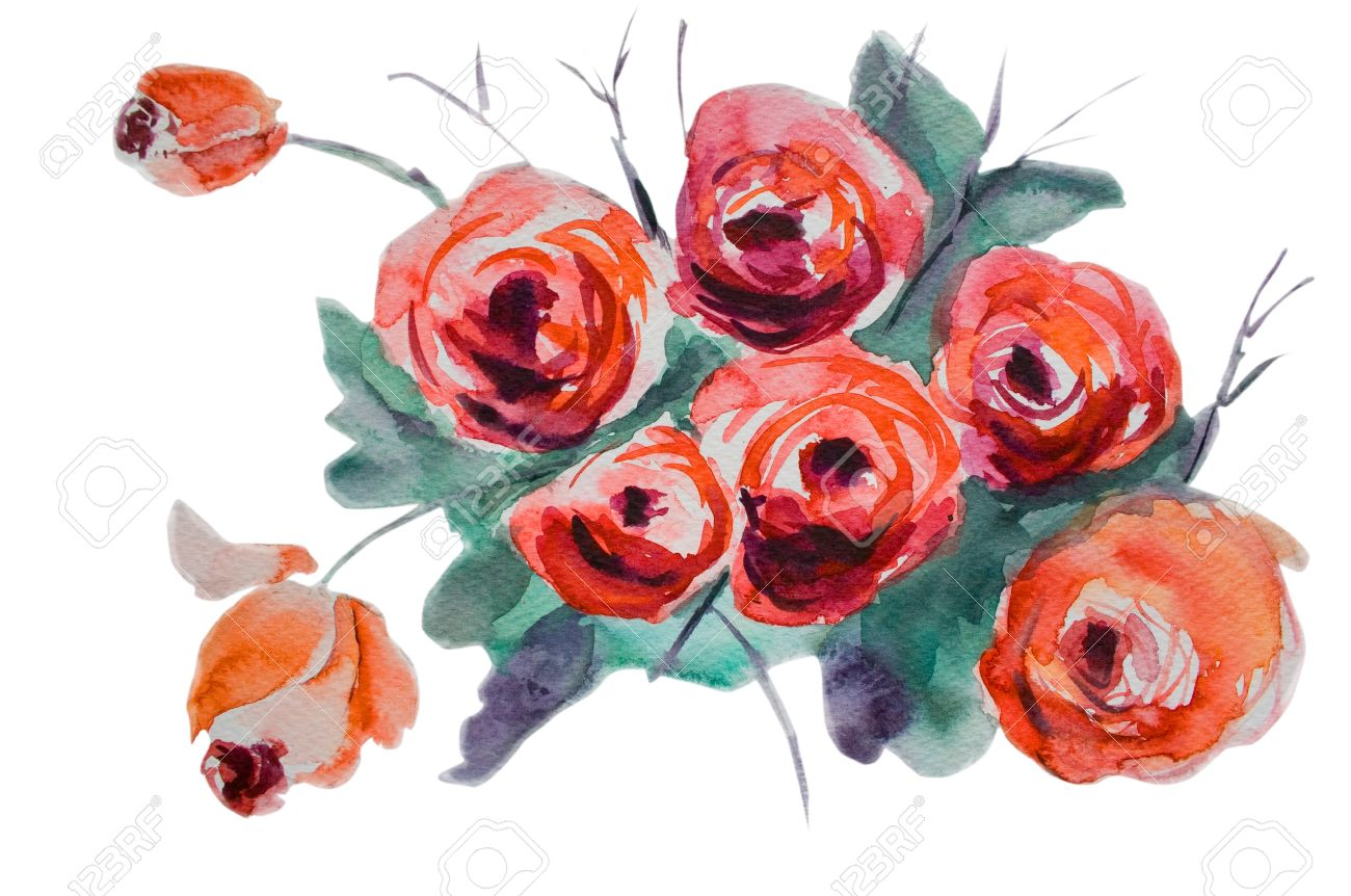 Watercolor background with stylized rose flowers Stock Photo - 13220749