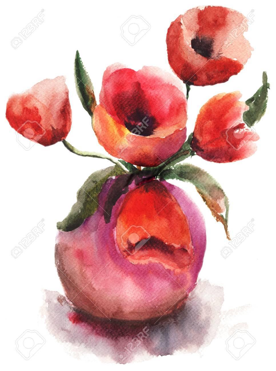 Vaso con fiori rossi Tulipani Archivio Fotografico - 13624744