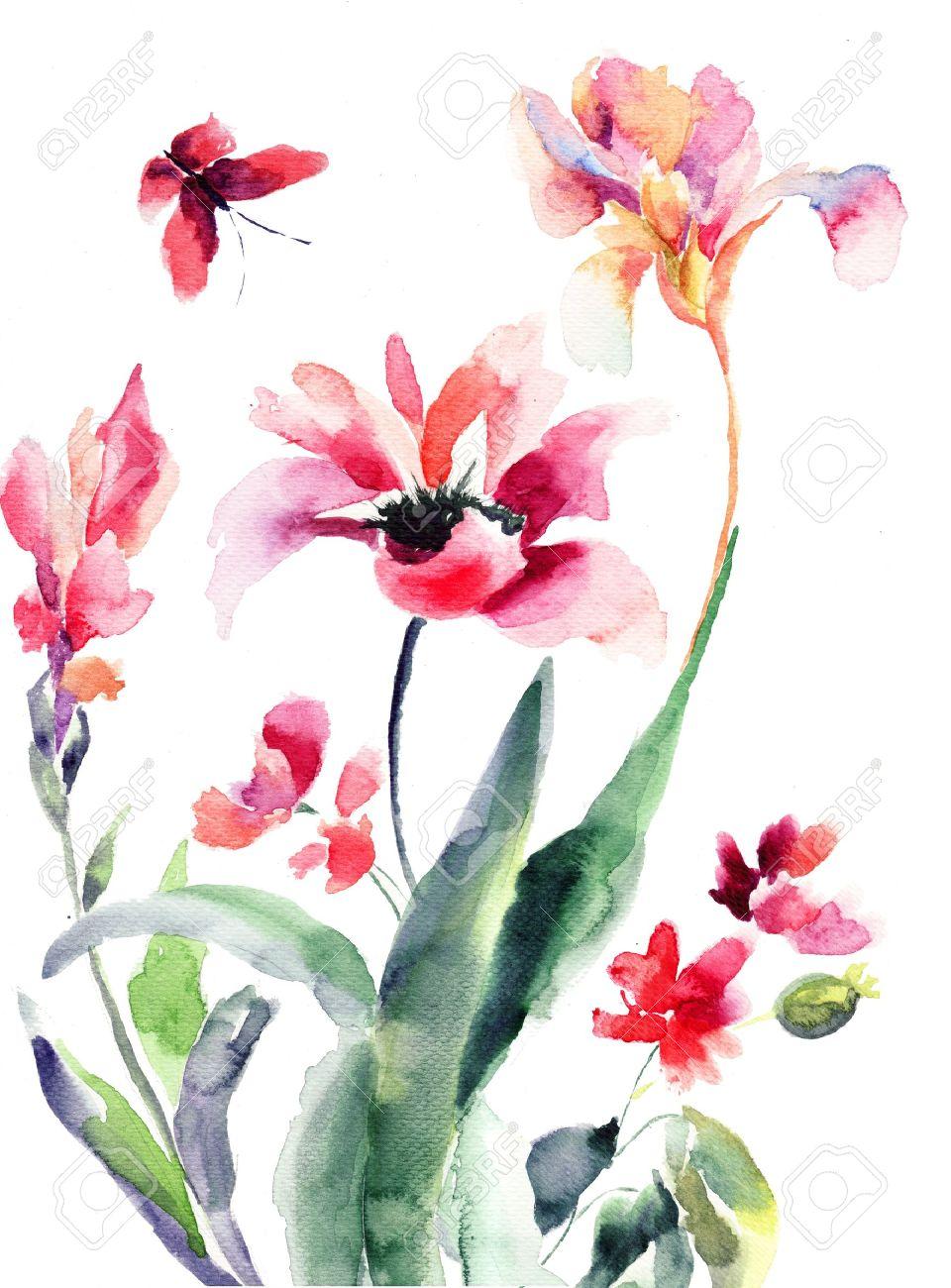 Fleurs Stylisées fleurs stylisées, illustration aquarelle banque d'images et photos