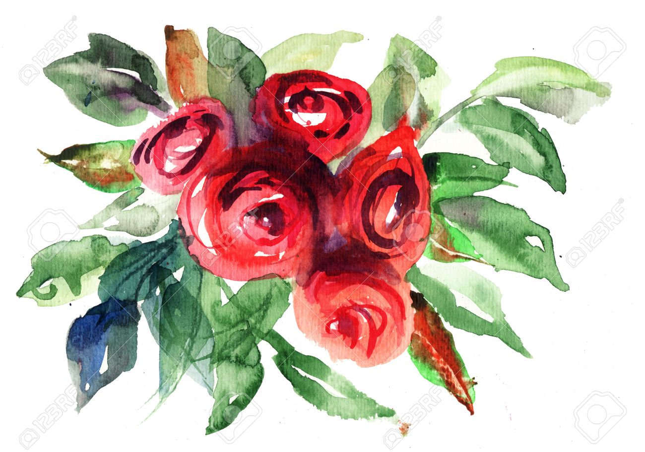 Beautiful Roses flowers, Watercolor painting Stock Photo - 14948127