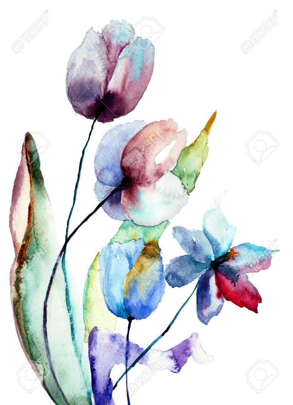 Fleurs stylisées, illustration daquarelle Banque dimages , 19497533