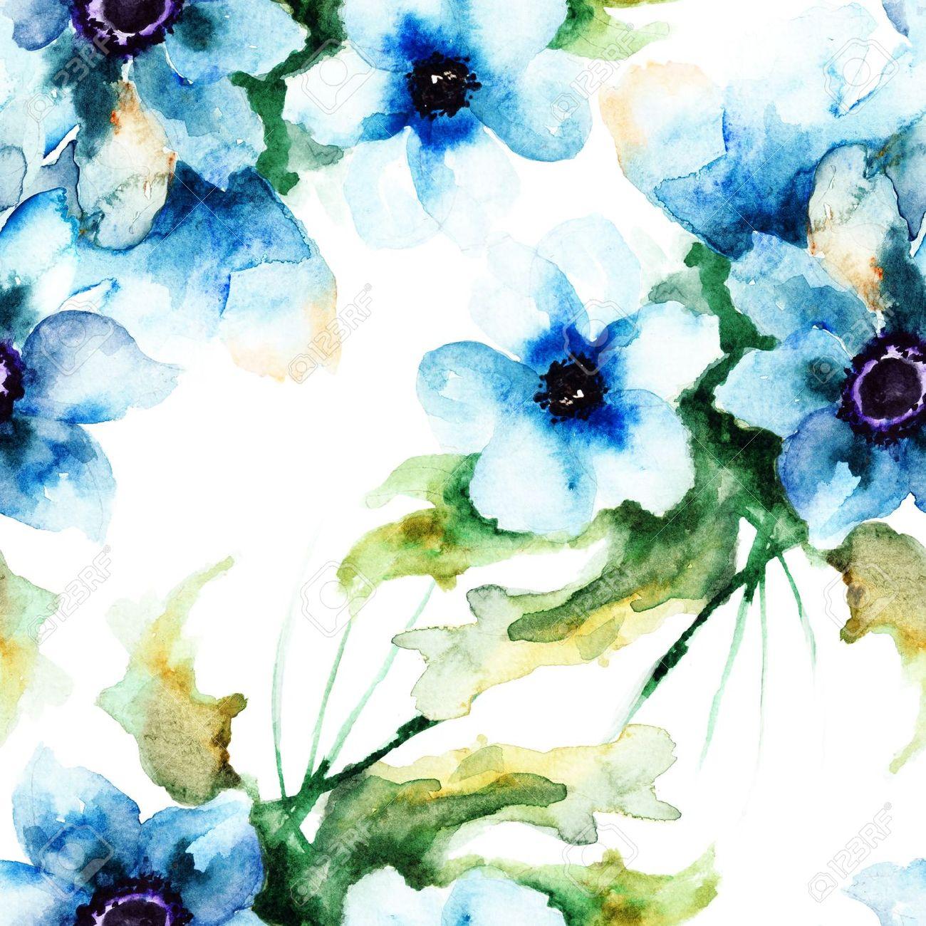 青い夏の花 水彩画イラストでシームレスな壁紙 の写真素材 画像素材 Image