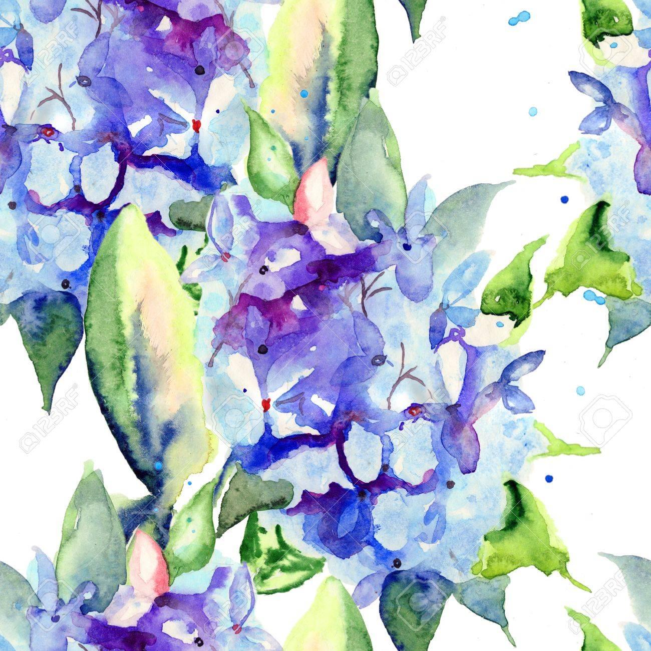 美しい青い花 水彩画イラストでシームレスな壁紙 の写真素材 画像