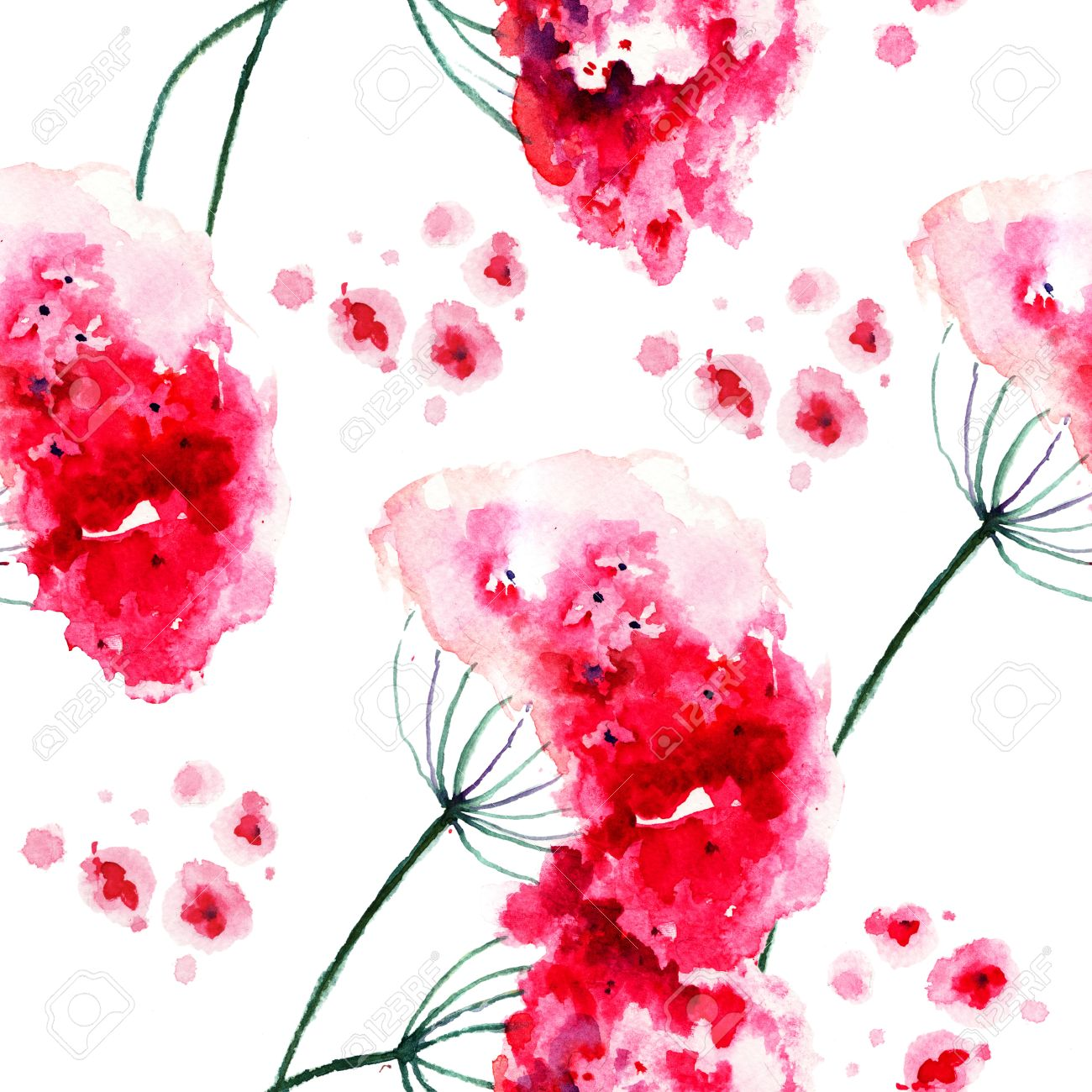 Seamless Wallpaper With Wild Flowers Watercolor Painting Stock