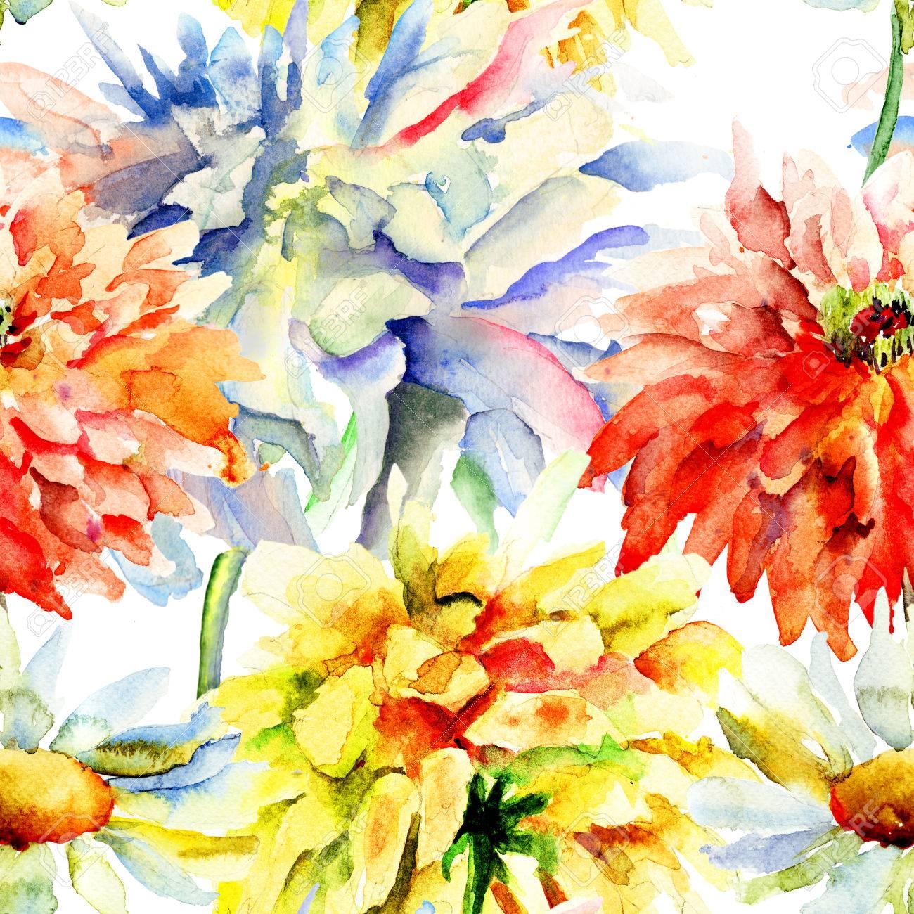 美しい菊の花 シームレスな壁紙の水彩イラスト の写真素材 画像素材
