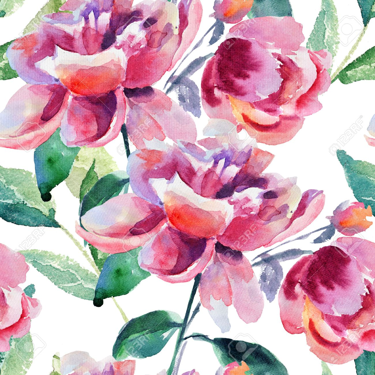 Seamless Wallpaper With Beautiful Peony Flower Watercolor