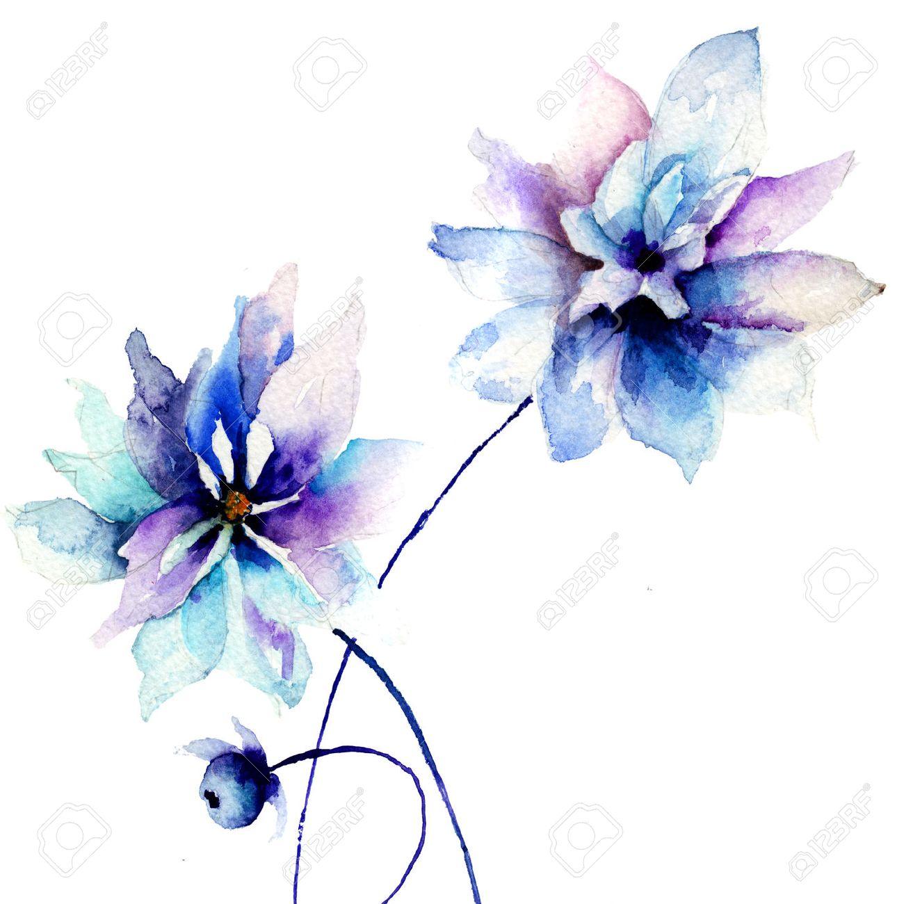 Beautiful blue flowers watercolor painting stock photo picture and beautiful blue flowers watercolor painting stock photo 22967265 izmirmasajfo