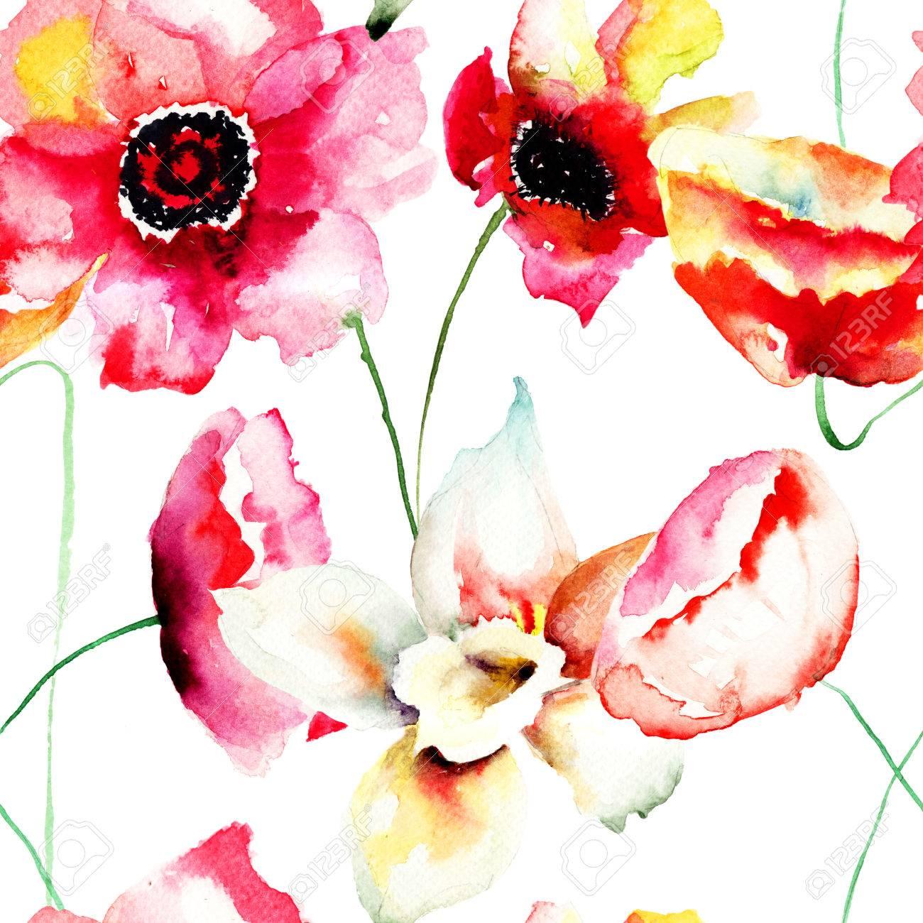水彩イラスト 色鮮やかな赤い花を持つシームレスな壁紙 の写真素材
