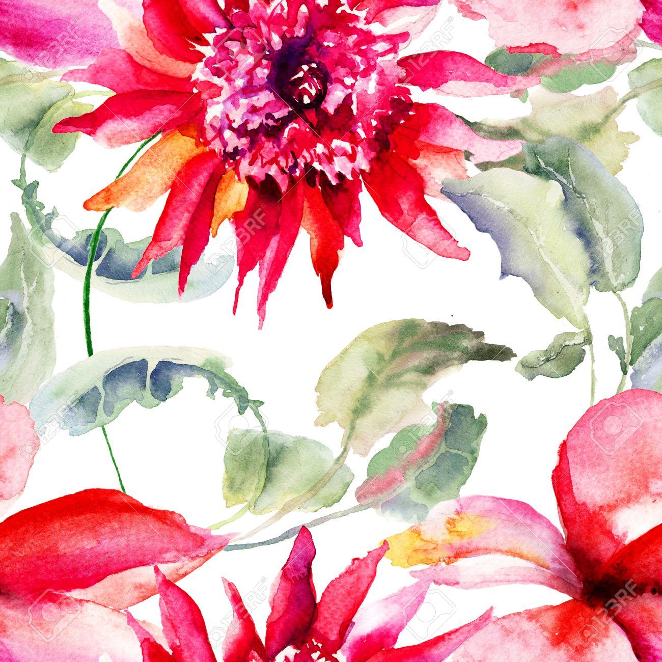 Fonds D Ecran Transparente Avec Belle Fleur Rose Peinture Aquarelle