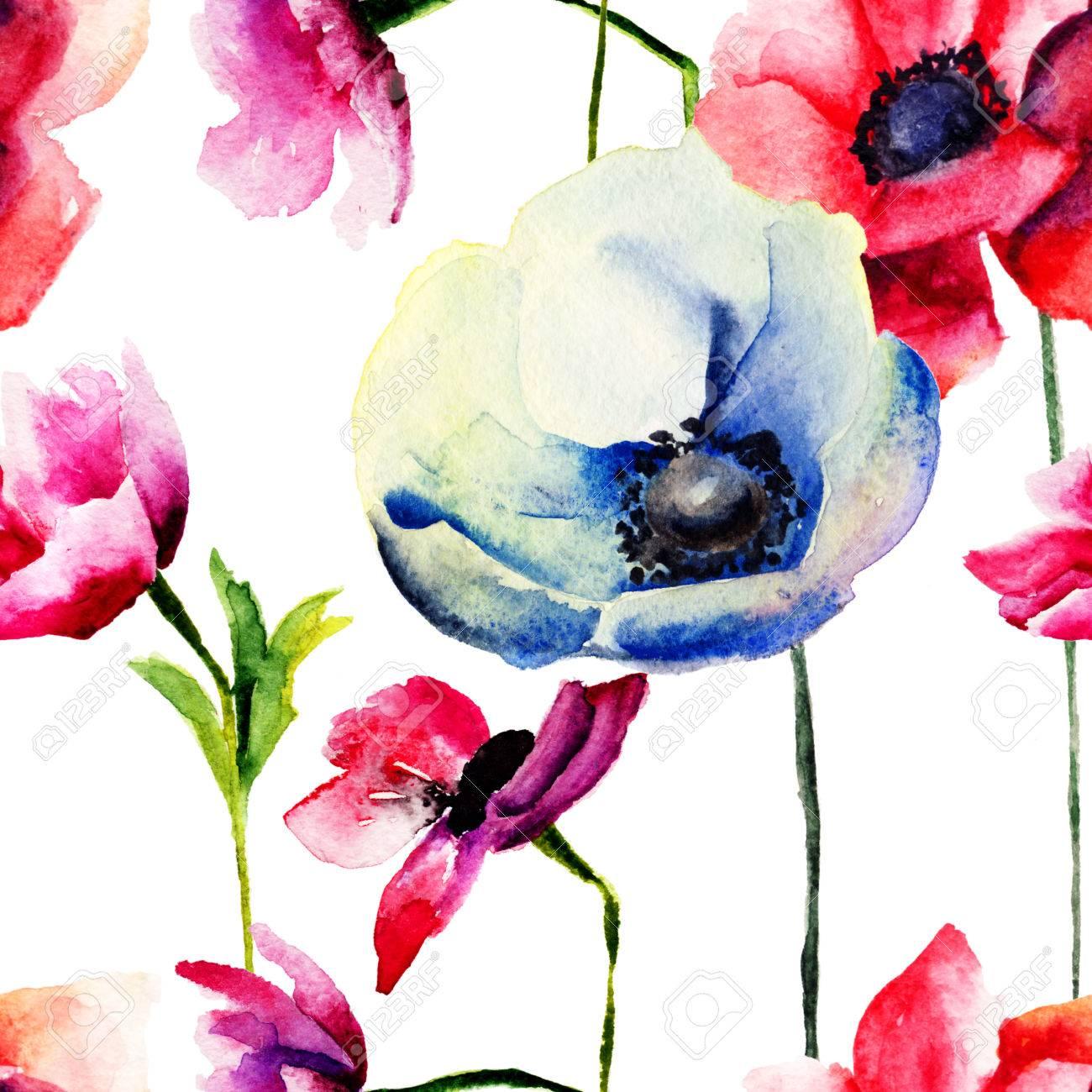 fond d ecran transparente avec des fleurs de printemps illustration d aquarelle