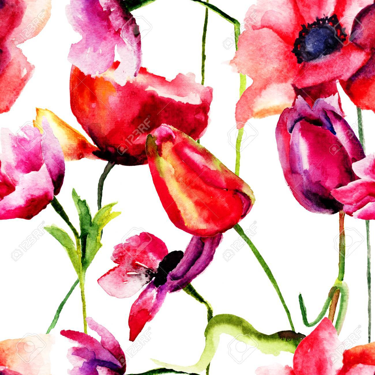 Seamless Wallpaper With Red Flowers Watercolor Illustration Stock Photo Picture And Royalty Free Image Image